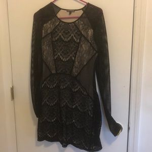 Mesh patterned  long sleeve arm dress from express
